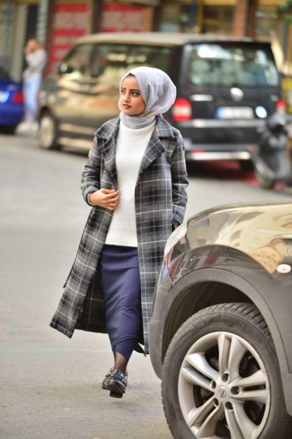 Elizamoda Tesettur Ekose Kaban Modelleri Moda Tesettur Giyim Ekose Moda Moda Stilleri