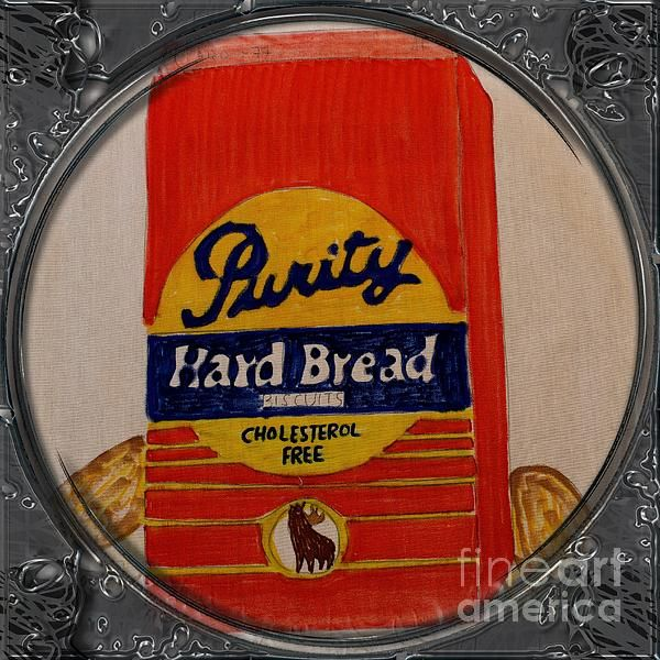 Hard Bread Biscuits - Porthole Vignette by Barbara Griffin. This vintage Newfoundland scene is a drawing on fabric of a red package of Purity Hard Bread. Hard bread is soaked overnight and used in the recipe for fish and brewis