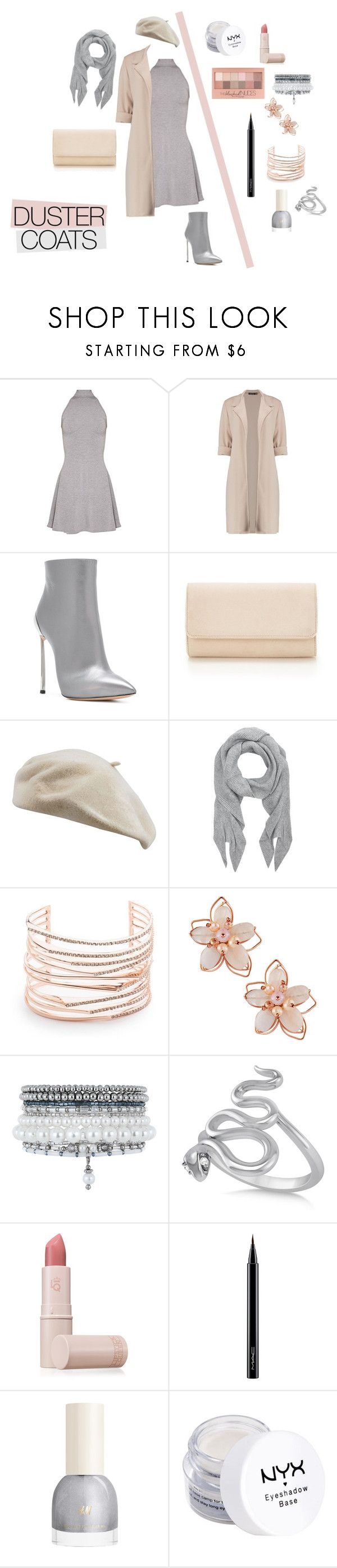 """Duster coats"" by sky-gem ❤ liked on Polyvore featuring Casadei, Accessorize, Alexis Bittar, NAKAMOL, Monsoon, Allurez, Maybelline, Lipstick Queen, MAC Cosmetics and NYX"
