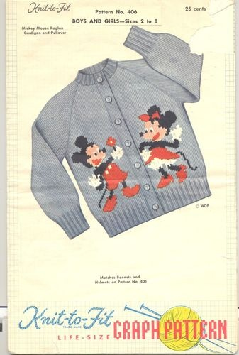Vintage Mickey Minnie Mouse Sweater Graph Pattern Knit to Fit Childrens 1953 |
