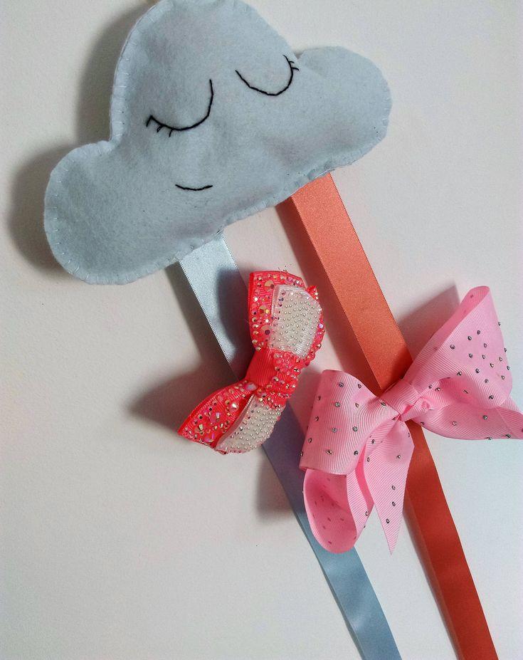 Cloud Felt Bow Holder - Personalised- Hair Accessories Organizer – Toddler Hair Clip Holder – Girls Birthday Gift - Snap Clip Organizer