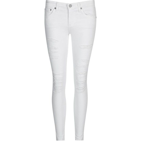 Womens Skinny Jeans AG Jeans The Legging White Distressed Skinny Jeans ($365) ❤ liked on Polyvore