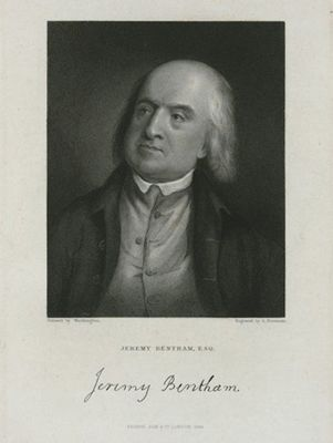 "Engraving from c.1785. English social reformer Jeremy Bentham argues for the repeal of sodomy laws in his essay known as the ""On Paederasty""."