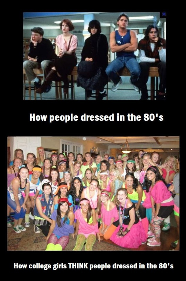 The 80′s as compared to 80′s parties...: Colleges Girls, The Breakfast Club, Breakfastclub, 80S Style, Funny, People Dresses, So True, 80S Parties, True Stories