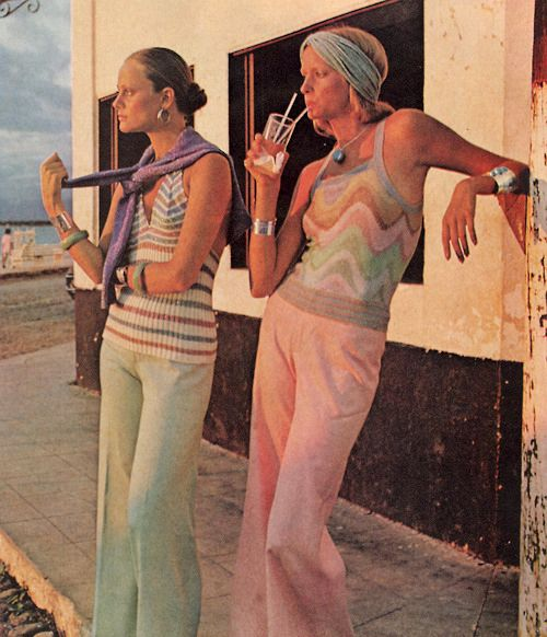 Margareta Arvidsson and Shelley Smith by Otto Stupakoff for Harper's Bazaar US December 1972