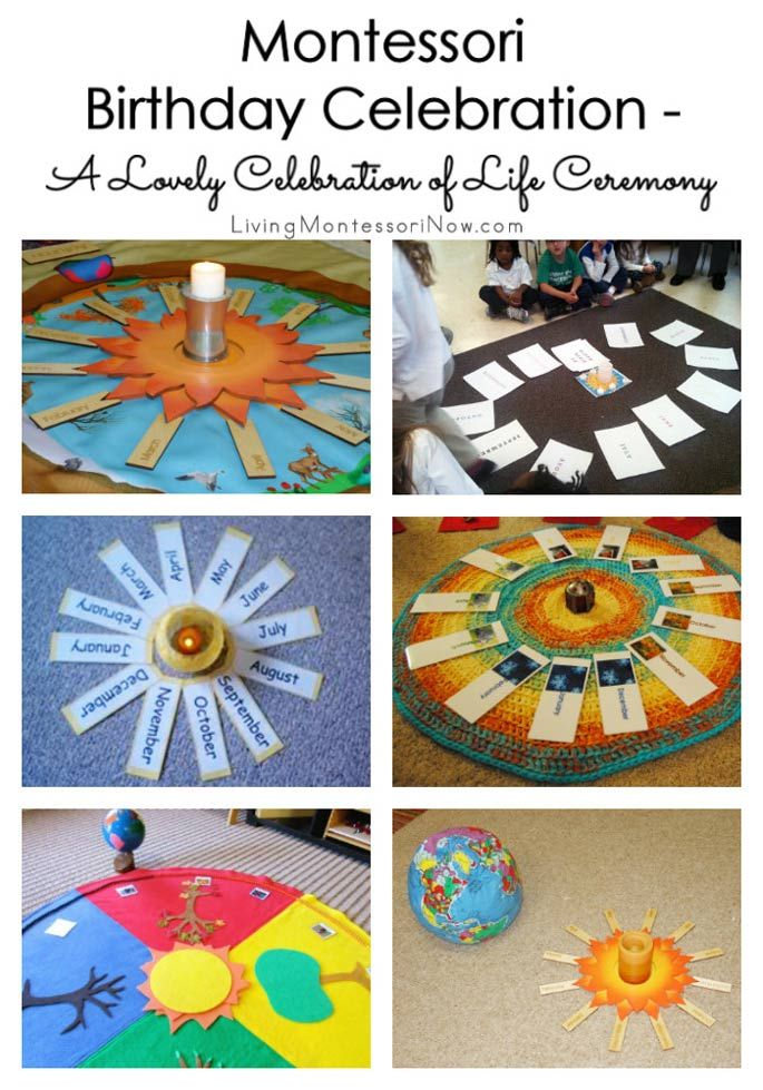 A roundup of ideas & resources for a Montessori birthday celebration of life in the classroom or at home; meaningful birthday celebrations for preschoolers.