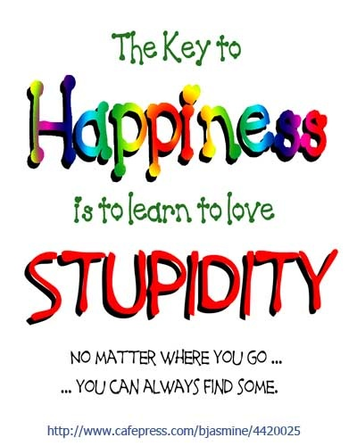 The key to happiness is to learn to love stupidity. No matter where you go, you can always find some. http://www.cafepress.com/bjasmine/4420025