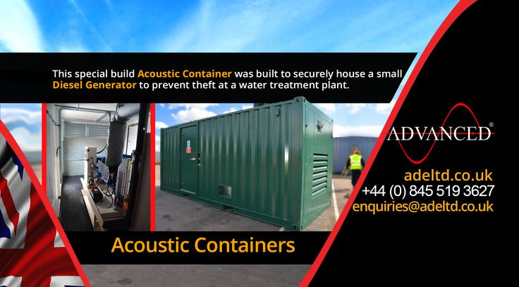 Acoustic containers.  This special build acoustic container was built to securely house a small diesel generator to prevent theft at a water treatment plant.  Visit: adeltd.co.uk for more information on Diesel Generators, acoustic enclosures, fuel tanks, modular switchgear housings, UPS modular buildings & much more.    Email: enquiries@adeltd.co.uk Telephone: +44 (0)845 519 3627   #DieselGenerators #construction #agriculture #farming #DieselGenerator
