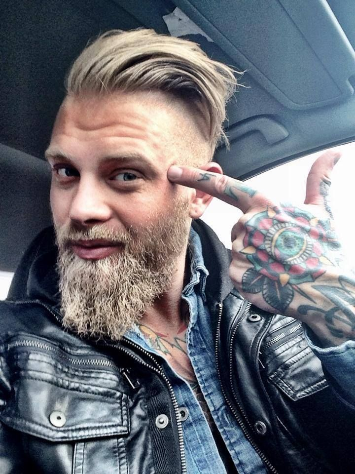 Josh Mario John - full thick blond beard beards bearded man men mens' style leather jacket tattooed tattoos ink blonde handsome #beardsforever