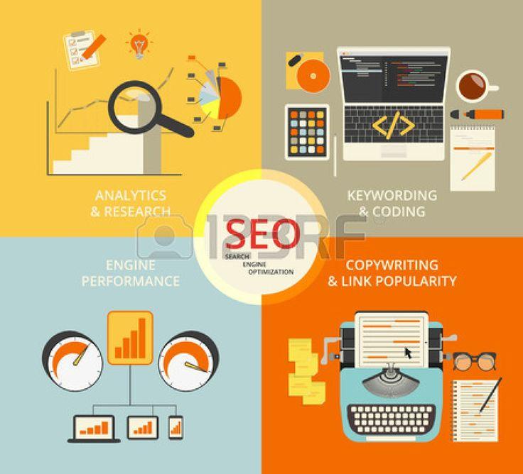 Infographic flat concept illustration of SEO. 4 items described #flatdesign