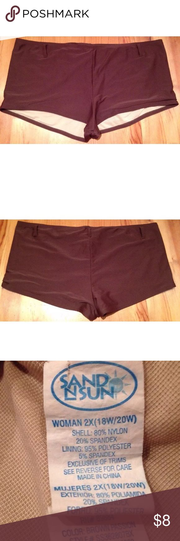 BROWN TANKINI SHORT SWIM BOTTOMS Women's 2X 18W Excellent condition pre-owned brown boy short tankini swim bottoms by SAND N SUN! Size women's plus 2X (18W-20W). Material: Shell 80% nylon, 20% spandex and lining 95% polyester/5% spandex. Has belt loops...CUTE to run a bandana through belt loops! SAND & SUN Swim