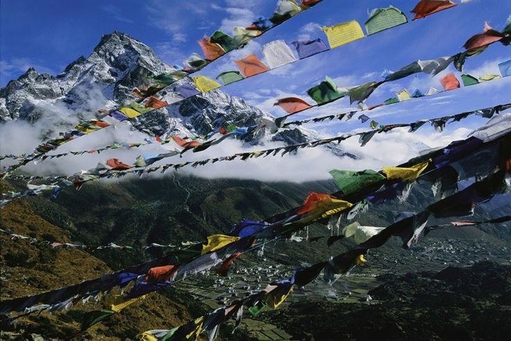 Prayer flags fly over the village of Khunde, Nepal to mourn Sir Edmund Hillary's family killed in a plane crash.