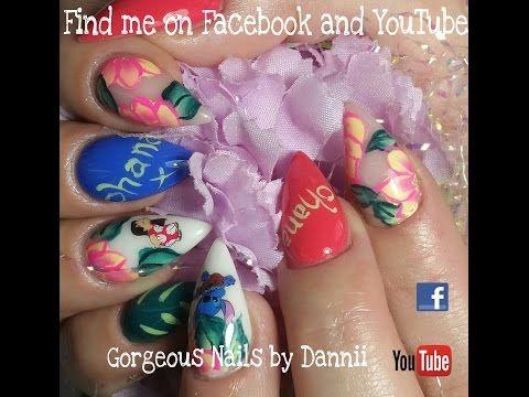 disney lilo  stitch almond shape acrylic nails  http