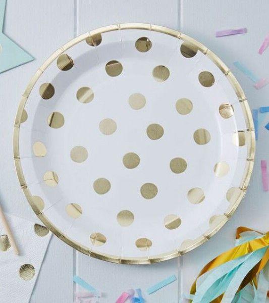 Elegante weiße Pappteller mit goldenen Punkten für eine edle Tisch-Deko und glamouröse Feierstimmung zu jedem Anlass. Durchmesser: 23 cm.