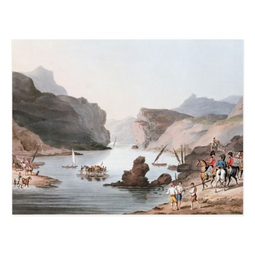 """""""Pass of the river Tagus at Villa Velha de Rodão into the Alentejo (Niza), 20th May 1811 engraved by C. Turner"""" oil on Canvas."""