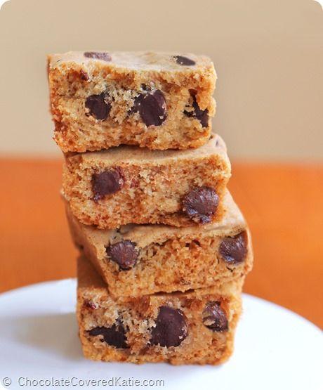 Pumpkin Chocolate Chip Cookie Bars: http://chocolatecoveredkatie.com/2014/09/15/pumpkin-chocolate-chip-cookie-bars/
