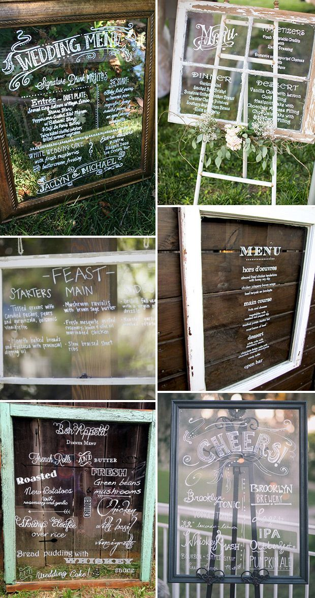 Glass Frame and Window Pane Wedding Menu Ideas | www.onefabday.com