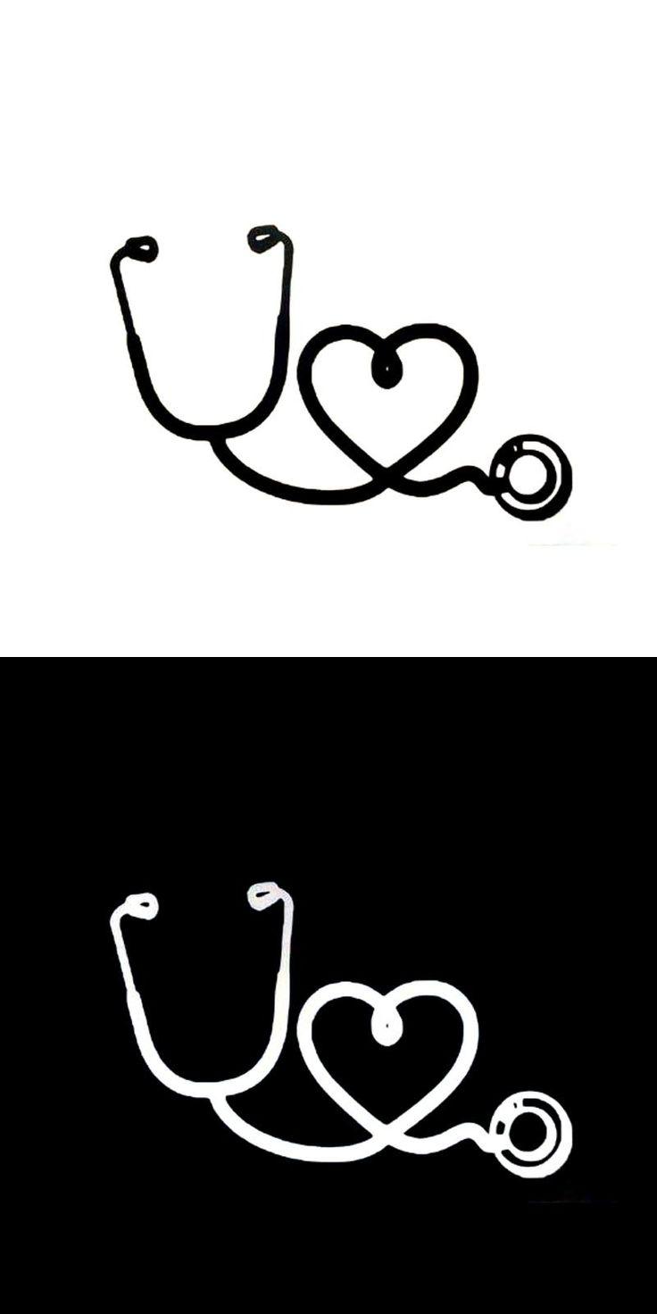 [Visit to Buy] 12.3*8.1CM Personality Nurse Stethoscope Love Car Sticker Cartoon Motorcycle Vinyl Decals Black/Silver C7-1619 #Advertisement
