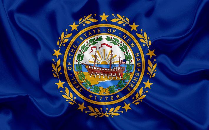 壁紙をダウンロードする ニューハンプシャー状態フラグ, フラグ状態, 旗国ニューハンプシャー, 米国, 国ニューハンプシャー, 青色の絹の旗を, ニューハンプシャーコート武器