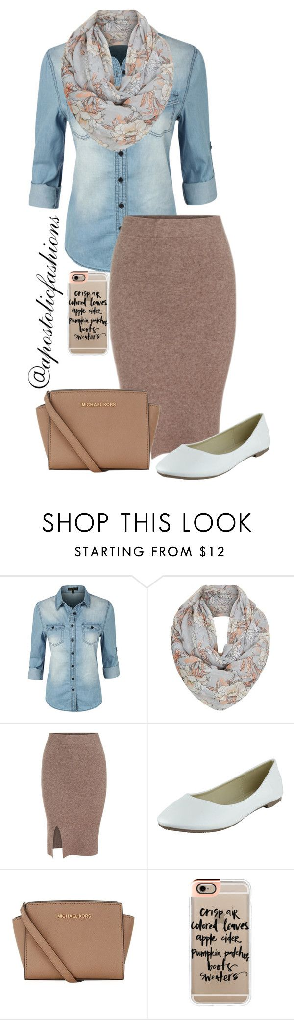 """Apostolic Fashions #902"" by apostolicfashions ❤ liked on Polyvore featuring LE3NO, MICHAEL Michael Kors and Casetify"
