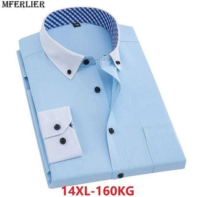 ad548d7453e MFERLIER summer autumn men shirt plus big size 14XL Dress shirt 8XL 10XL  work Business Long sleeve larger 7XL 9XL 11XL 12XL 13XL Review