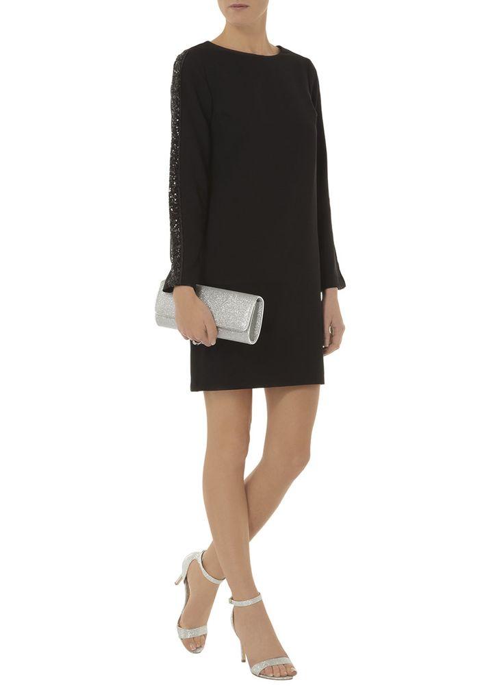Black sequin sleeve shift dress