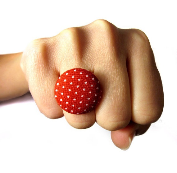 Fashion Button Ring Polka Dots Red Adjustable  by ButtonBeloved, $8.00