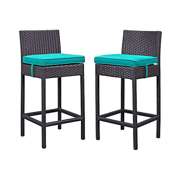 Turquoise Lift Outdoor Barstool Pair Outdoor Bar & Counter Stools ($375) ❤ liked on Polyvore featuring home, outdoors, patio furniture, outdoor stools, weatherproof outdoor furniture, outside bar stools, outdoor counter stools, outdoors bar stools and padded bar stools