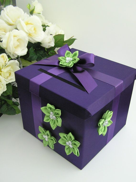 Purple and Lime Wedding  Card Box Gift Card Box by bwithustudio, $68.00