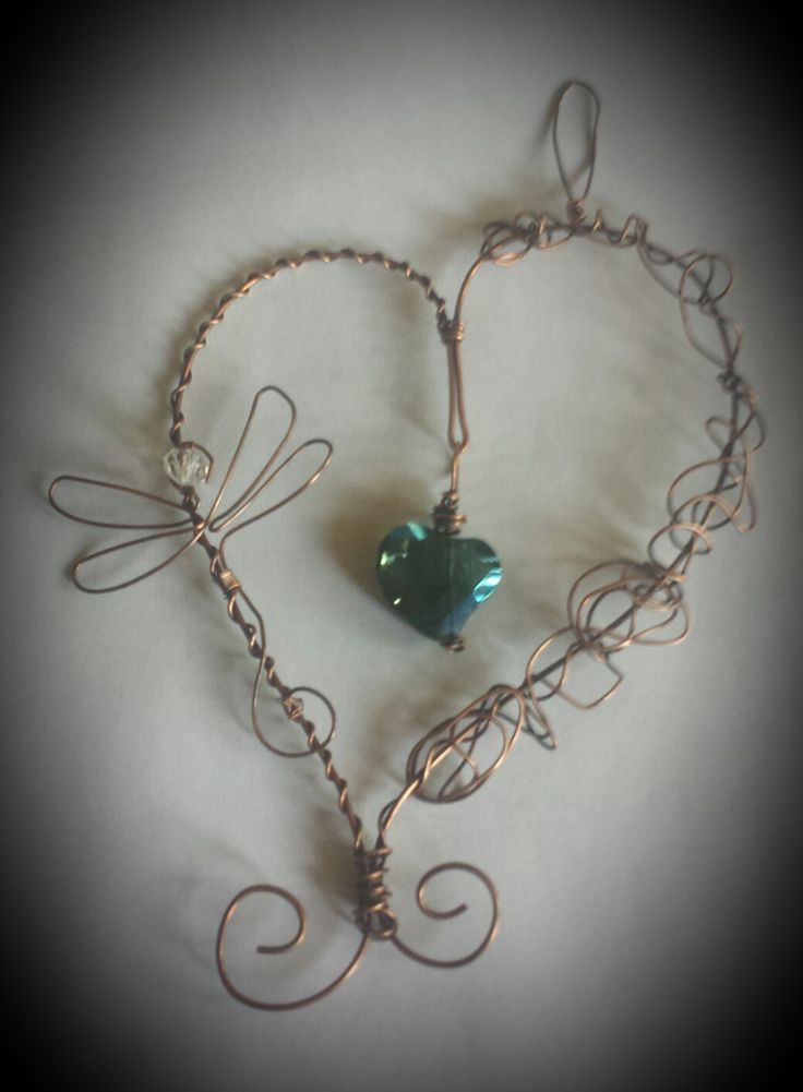 Antiqued copper heart and dragonfly suncatcher - custom order for Di