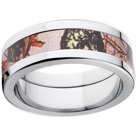 Mossy Oak Pink Break Up Women's Camo 8mm Stainless Steel Wedding Band with Polished Edges and Deluxe Comfort Fit, Size: 12