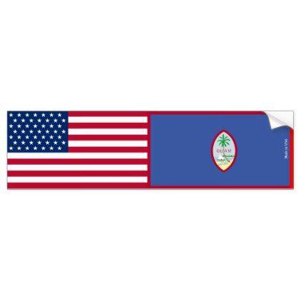 American & Guam Flags Bumper Sticker - craft supplies diy custom design supply special