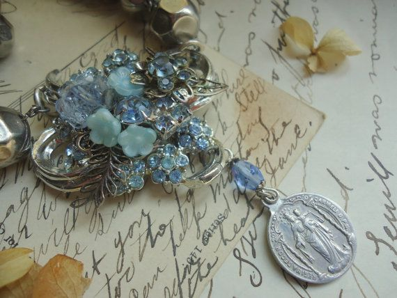 Religious Assemblage Necklace. Mary, artsy, blue, collage, silver. Assemblage Jewelry by SacredCake on Etsy