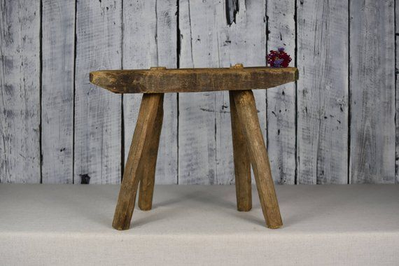 Antique Wooden Stool Rustic Wooden Bench Small Wooden Stool