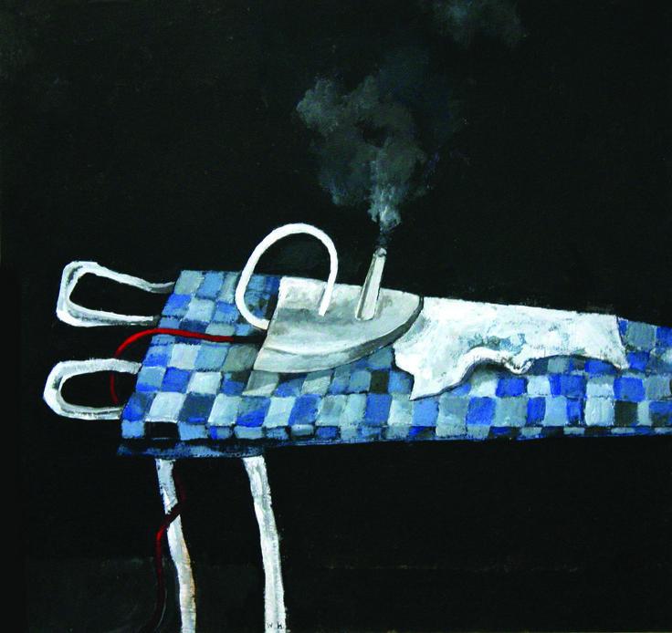 Wim Hofman, stoomstrijkijzer, 2000. Gemengde techniek op karton, 30 x 29 cm. Foto: Bo de Jong. Particulier bezit.