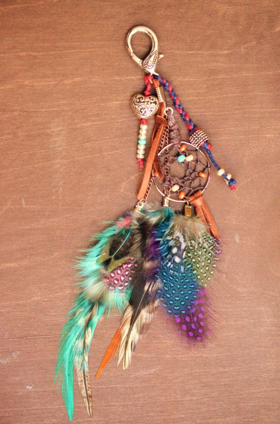 Dreamcatcher Feather Purse Charm Women's by TurquoiseCrush on Etsy