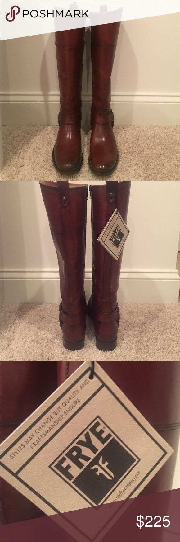 "👠1 day sale👠 FRYE Melissa Harness Inside Zip These boots are new - never been worn although the bottom has some scuffing on one sole please see picture. Slip into an iconic knee-high boot with the extra ease of a full side zip. Rich, supple leather and classic equestrian cut. Burnished leathers are hand-finished for a rich, unique look.Round toe. Solid vamp. Metal harness. Side zip closure. Approx. 16.5"" shaft height, 14.5"" opening circumference. Approx. 1"" heel Materials: Leather upper…"