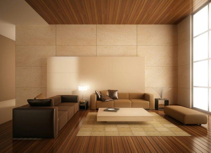 salón moderno con suelo y techo de madera