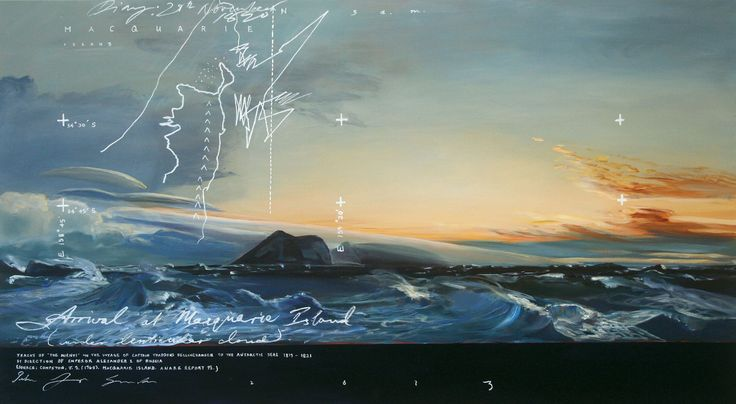 "Peter James Smith ""Arrival at Macquarie Island"" - from his wonderful exhibition at Flinders Lane Gallery"