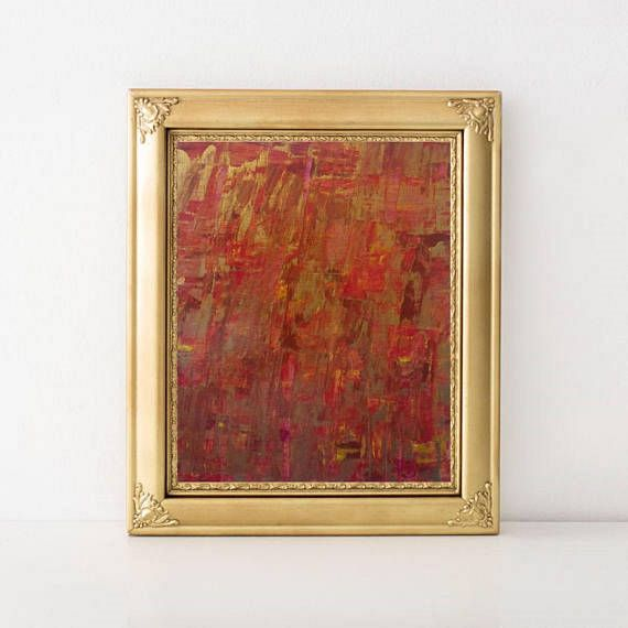 Original Contemporary Acrylic Palette-knife Abstract Painting on Canvas Paper - Gold Red Pink Violet Acrylic Abstract Art on Canvas - 9x13