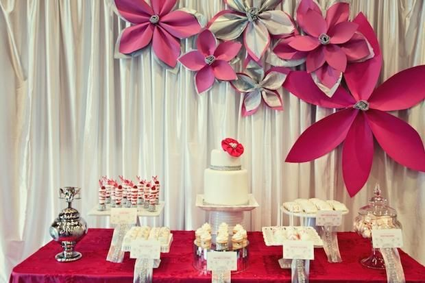 Large paper flower inspiration: Dessert Tables, Paper Flowers Backdrops, Pink Sparkle, Large Paper Flowers, Parties Ideas, Wall Flowers, Desserts Shots, Big Flowers, Desserts Tables