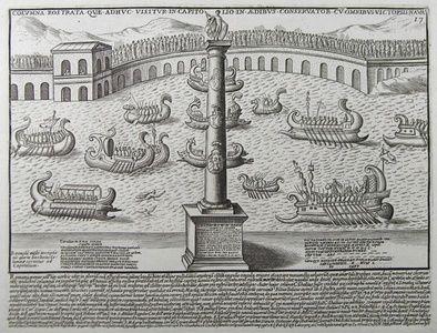 Columna Rostrata Quæ Adhuc Visitur in Capitolio in Ædibus Conservator cum Omnibus Victoriis Navalibus   Sanders of Oxford