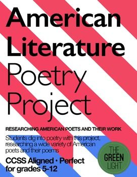 Let your students dig into to poetry with this American literature poets and poetry project. Students research the life a famous American poet and then conduct a study of their poems. Included in this bundle: Detailed project assignment sheet and rubrics Poetry reading/speaking chart (so your students get practice reading poetry!) List of American poets Poetry analysis worksheetThis is a great project for American Literature survey courses, as it covers a variety of poets and time periods.