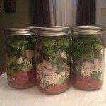 Mason jar salads are done for the week. I used this recipe but substituted turkey for chicken and left olives out :) http://www.organizeyou...