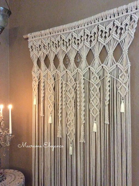 Extra large macrame wall hanging tapestry wedding backdrop for Colgadores para cortinas