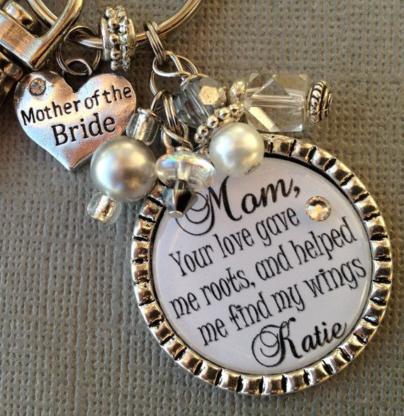 MOTHER of the BRIDE gift- PERSONALIZED keychain - mother of the groom, essence of life, love gave me roots, thank you gift via Etsy