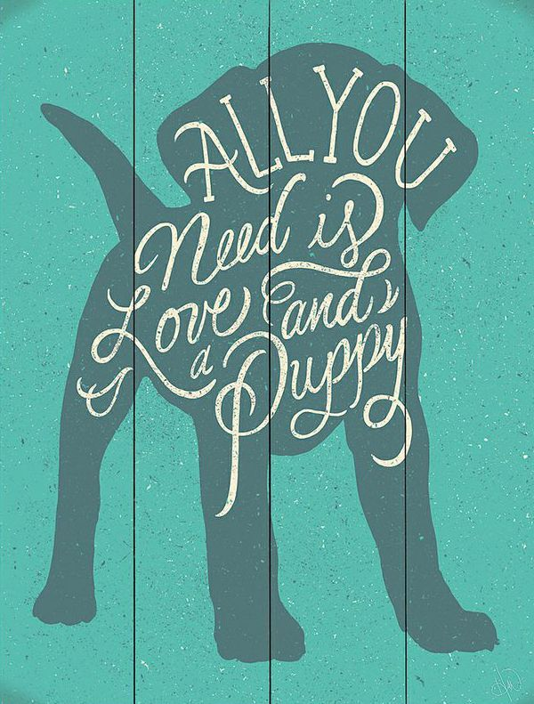 'All You Need Is Love and a Puppy' Wall Art