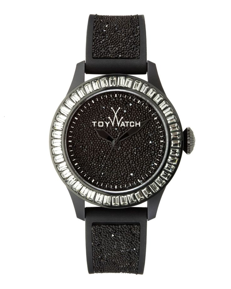Toy Watch Baguette-Bezel Glitter Silicone Watch, Black - Neiman Marcus
