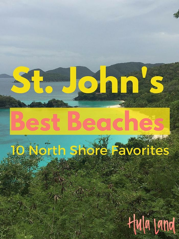10 Best Beaches on St. John's (USVI) north shore including Trunk Bay, Maho Beach, Hawksnest, and Salomon Bay.