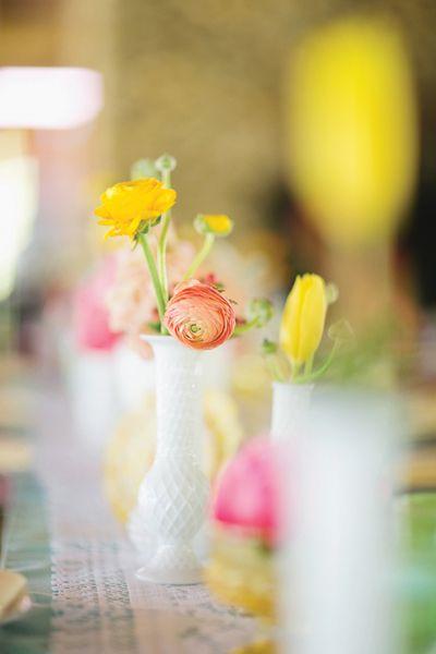 Milk glass ranunculi. Holly Bryan Floral and Botanical Design.